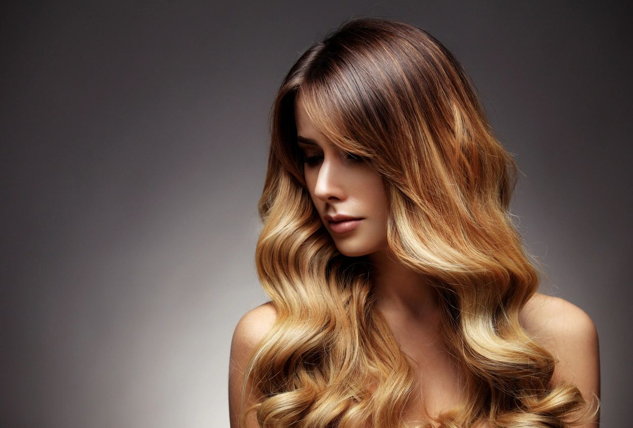 Woman with brown ombre hair