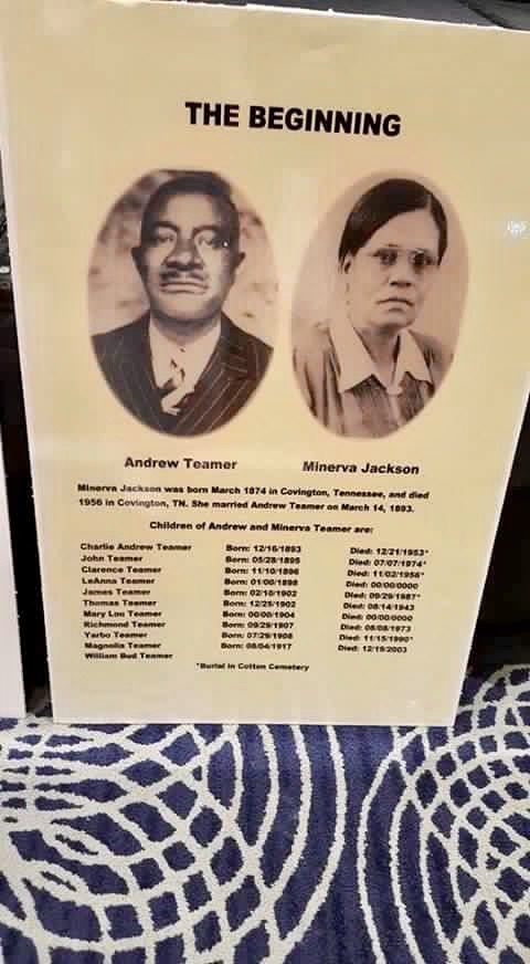 An informative poster about Andrew Teamer and Minerva Jackson